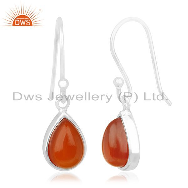 Exporter Carnilian Gemstone White Rhodium Plated 925 Silver Drop Earring Wholesale
