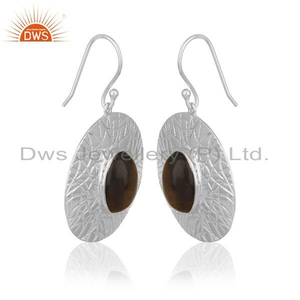 Exporter Smoky Quartz White Rhodium Plated 925 Silver Drop Earrings Wholesale
