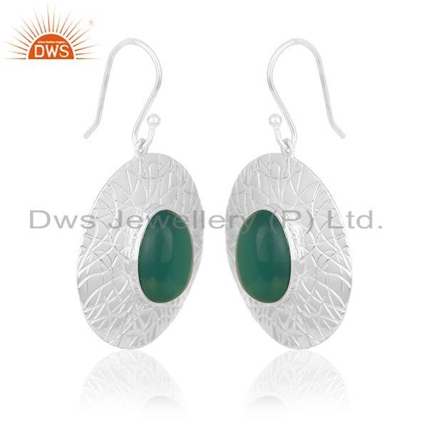 Exporter Green Onyx Gemstone Silver Earrings Manufacturer of Jewelry for Designers