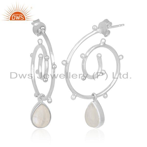 Exporter Rainbow Moonstone New Arrival 925 Silver Girls Earring Jewelry Wholesale