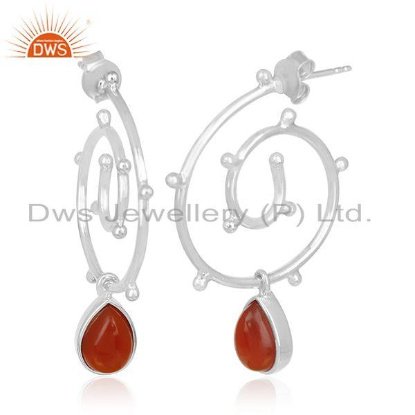 Exporter Chalcedony Gemstone Sterling Silver Designer Women Earring Jewelry Manufacturers