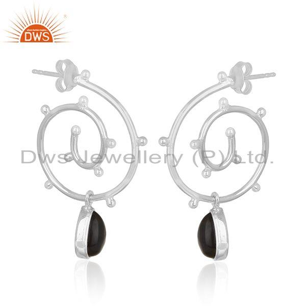 Exporter Sterling 92.5 Silver Smoky Quartz Gemstone Private Label Earring Manufacturer