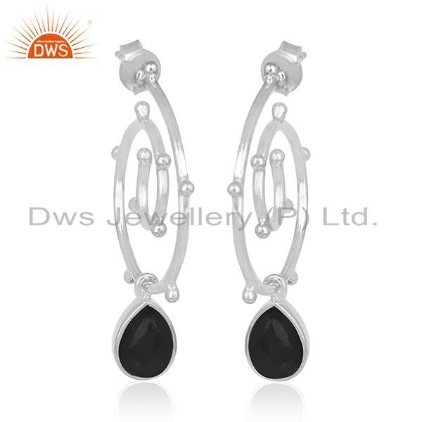 Exporter Onyx Black Gemstone Sterling Silver Custom Earring Jewelry Manufacturers