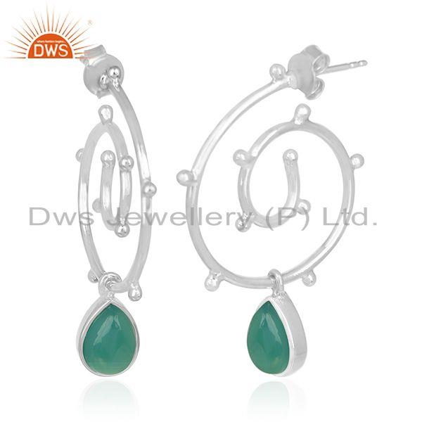 Exporter Customized 925 Sterling Silver Green Onyx Gemstone Earring Manufacturer