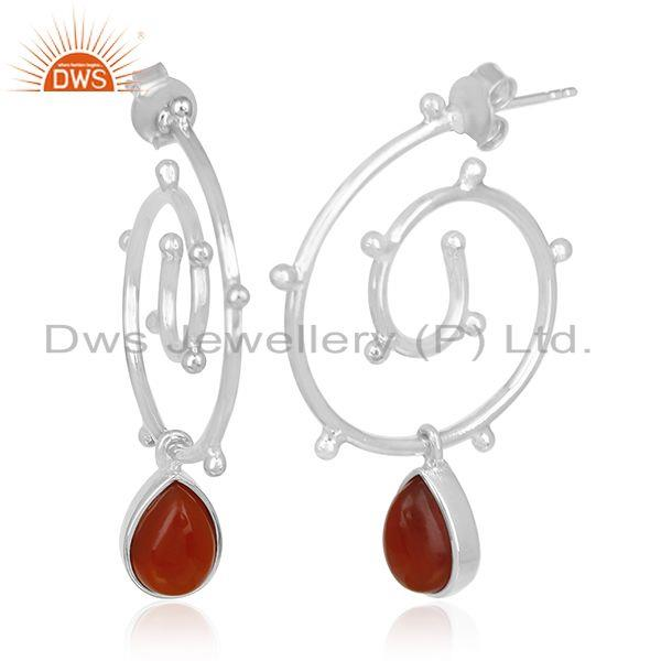 Exporter Red Onyx Gemstone Sterling Silver Private Label Earring Manufacturer India