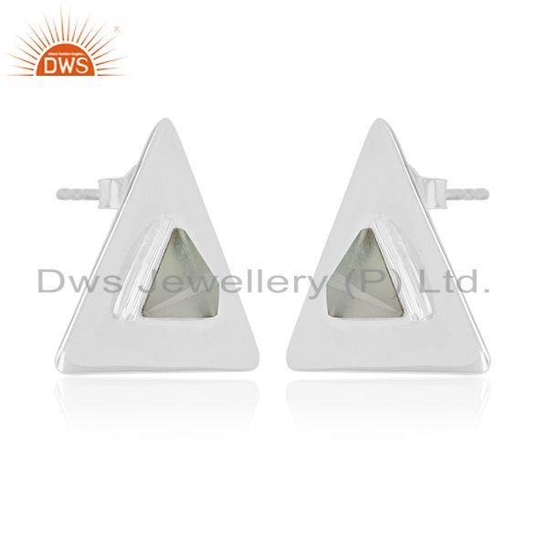 Exporter Sterling 92.5 Silver Aqua Chalcedony Gemstone Custom Triangle Stud Earring