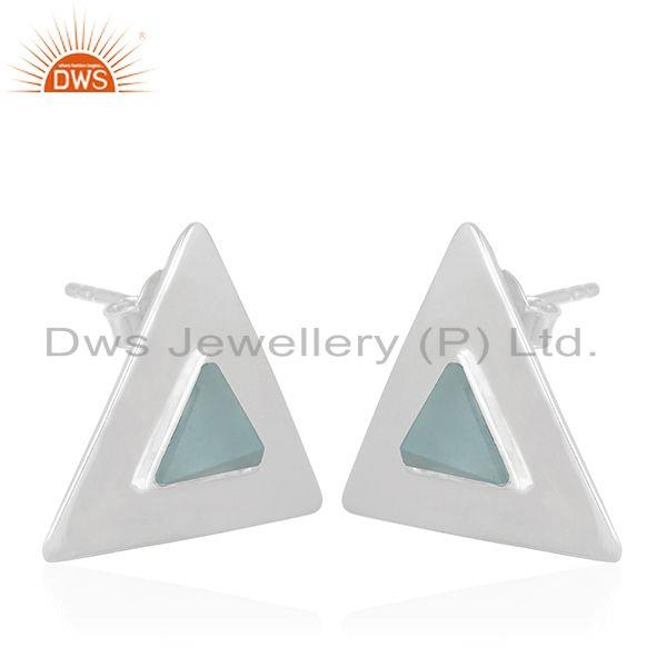 Exporter Triangle Design 925 Silver Blue Chalcedony Gemstone Stud Earring Manufacturer