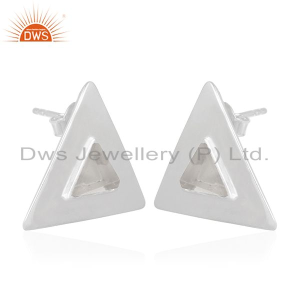 Exporter Crystal Quartz Handmade Sterling Silver Triangle Ring Manufacturer