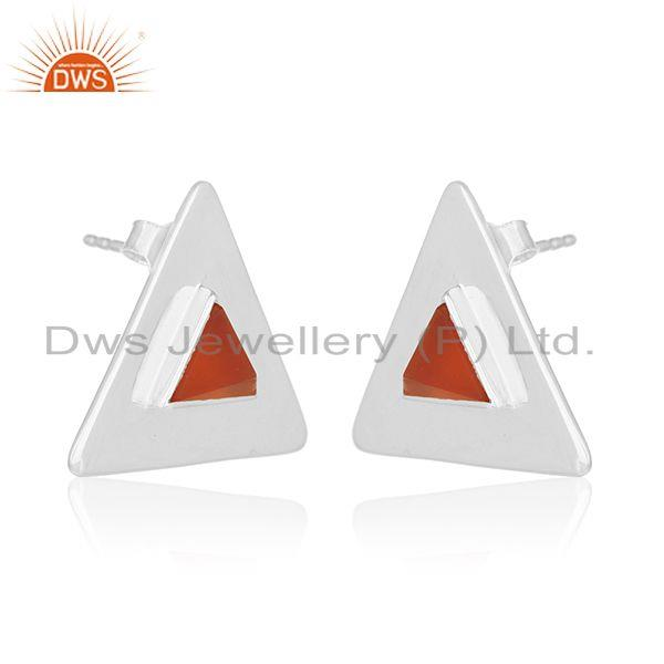 Exporter Customized Triangle 925 Silver Gemstone Stud Earrings Manufacturer
