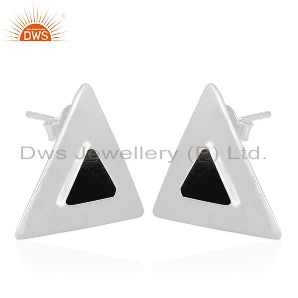 Exporter Black Onyx Gemstone Sterling Silver Triangle Stud Earring Jewelry Manufacturer