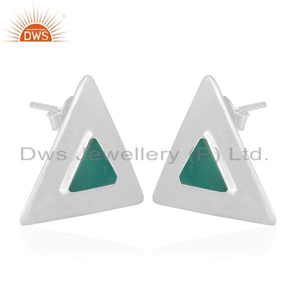 Exporter Green Onyx Gemstone Sterling Silver Triangle Stud Earring Manufacturer India