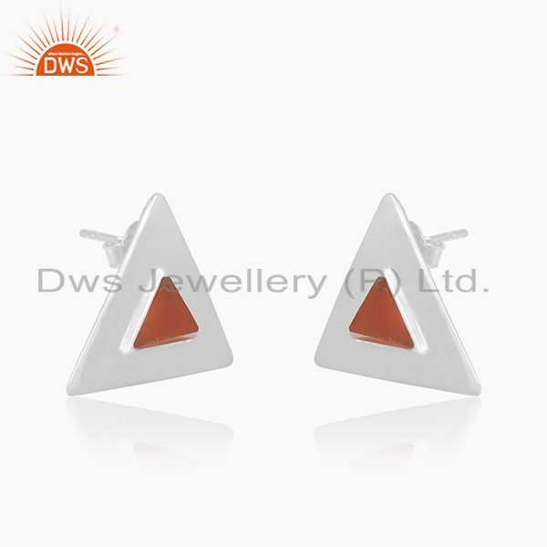 Exporter Red Onyx Gemstone Sterling Silver Triangle Stud Earrings for Girls Jewelry