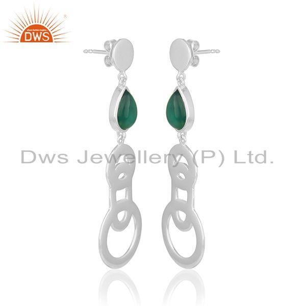 Exporter 2017 New Design Fine Sterling Silver Green Onyx Gemstone Earring Wholesale