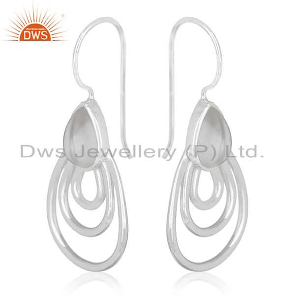 Exporter Crystal Quartz 925 Silver White Rhodium Plated Earrings Jewelry Wholesale