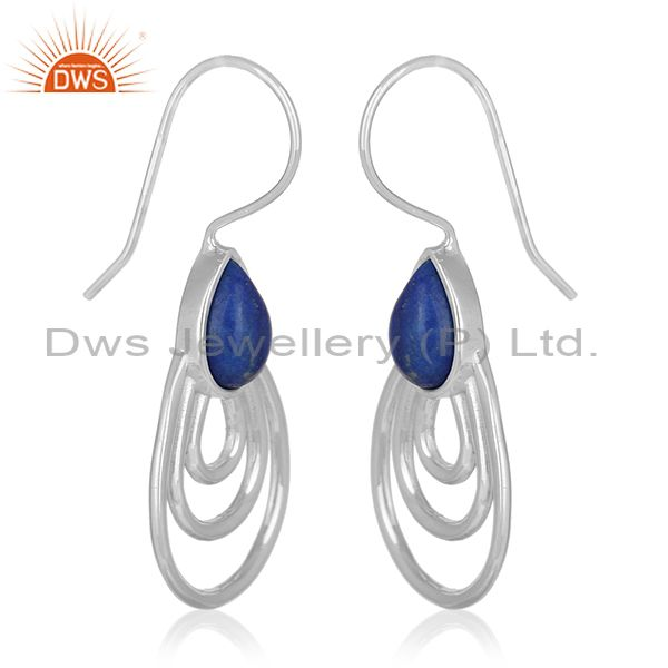 Exporter White Rhodium Plated 925 Silver Lapis Lazuli Gemstone Earrings Suppliers