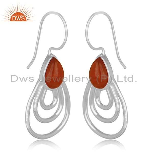 Exporter Red Onyx Gemstone 925 Silver White Rhodium Plated Earrings Manufacturers