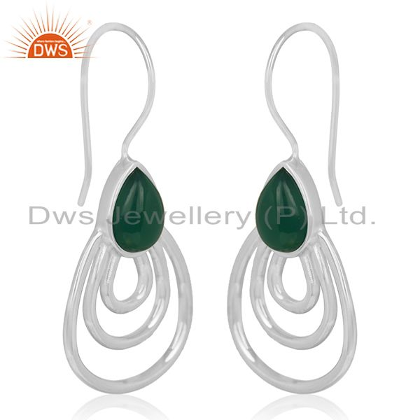 Exporter Green Onyx Gemstone 925 Silver Designer Earrings Jewelry Manufacturer From India