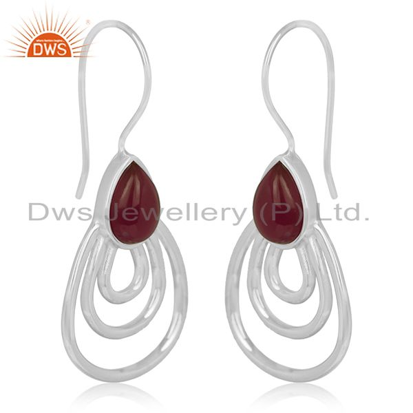 Exporter Red Onyx Gemstone Sterling Silver Earrings Jewelry Manufacturer for Designers