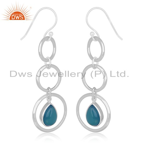 Exporter Blue Chalcedony Gemstone Sterling Silver Dangle Earring Custom Jewelry Wholesale