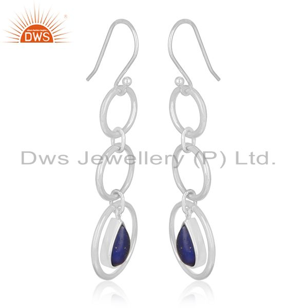 Exporter Private Label Lapis Lazuli Gemstone Sterling Silver Earring Jewelry Manufacturer