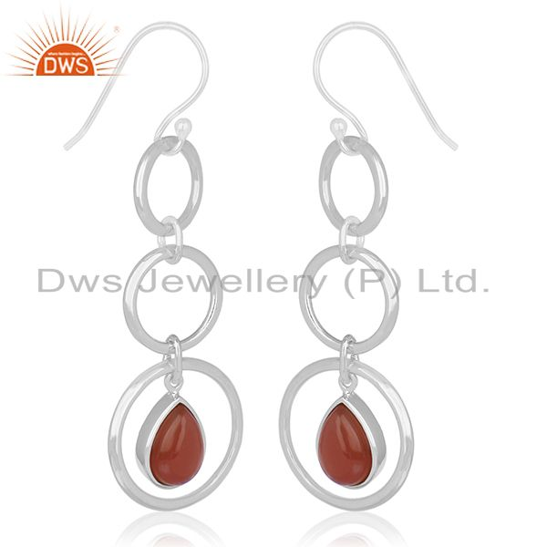Exporter Sterling Silver Red Chalcedony Gemstone Dangle Earring Wholesale Suppliers