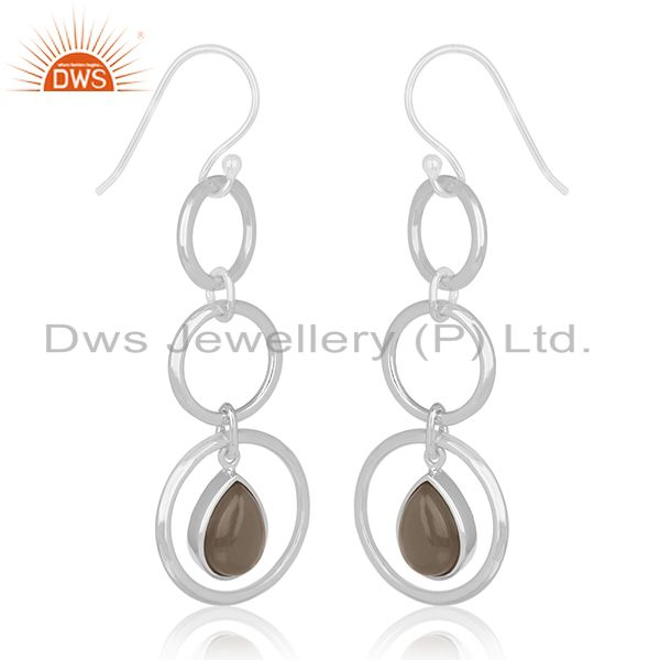 Exporter Smoky Quartz Designer Sterling Silver Customized Earring Manufacturer From India