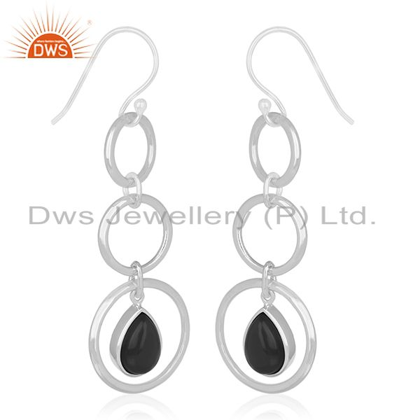 Exporter Round Circle Sterling Silver Onyx Black Gemstone Earring For Retailers