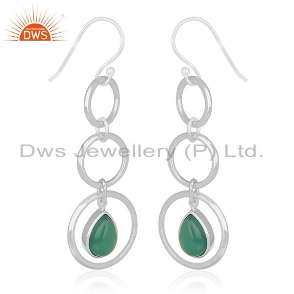 Exporter Genuine 925 Silver Jaipur Gemstone Dangle Earring Manufacturer of Custom Jewelry