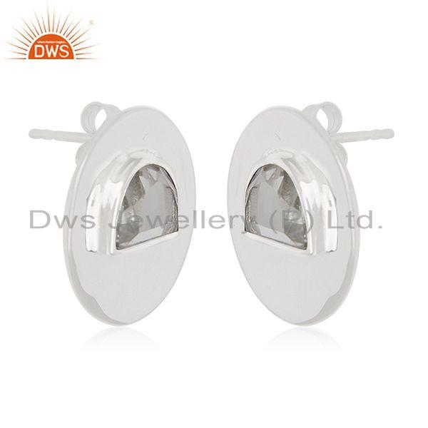 Exporter Crystal Quartz Sterling Silver Round Stud Earrings Wholesale Supplier of Jewelry