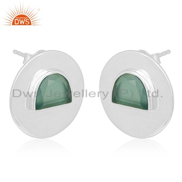 Exporter Green Onyx Gemstone 925 Silver Round Stud Earrings Manufacturer from India