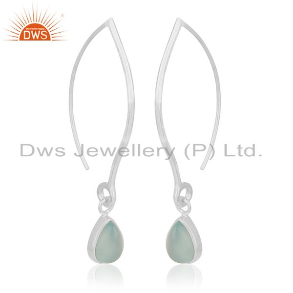Exporter Aqua Chalcedony Gemstone 925 Silver Dangle Earrings Custom Jewelry Manufacturers