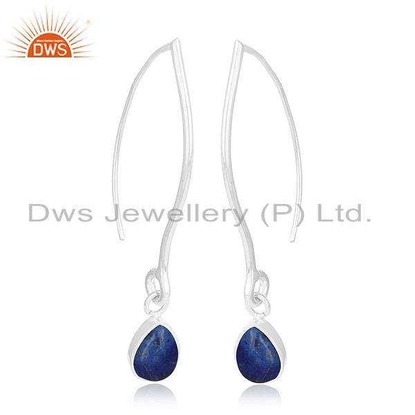 Exporter Natural Lapis Lazuli Gemstone Party Wear Silver Earring Jewelry