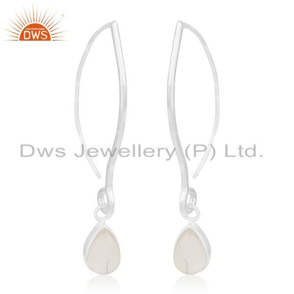 Exporter Natural Rainbow Moonstone 925 Sterling Silver Earrings Manufacturer India