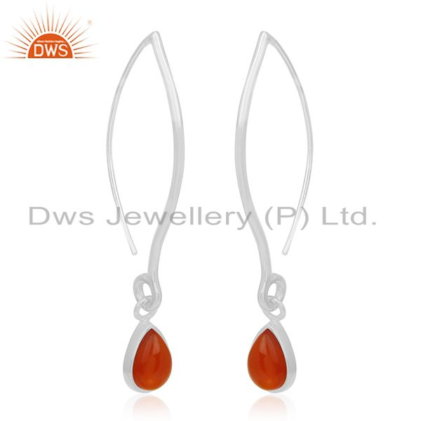 Exporter Red Onyx Gemstone 925 Sterling Silver Dangle Earrings Wholesale Suppliers Jaipur