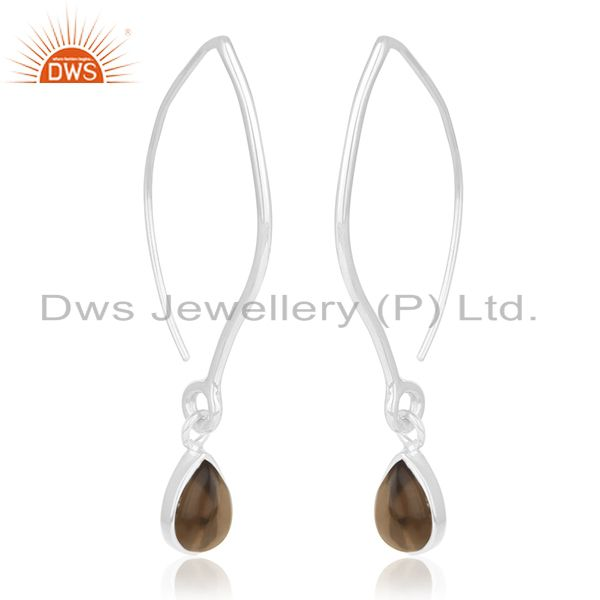 Exporter 92.5 Sterling Silver Smoky Quartz Gemstone Dangle Earrings Private Label Jewelry