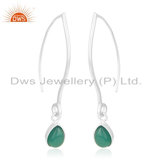 Exporter Private Label 925 Sterling Silver Green Onyx Gemstone Earrings Manufacturers