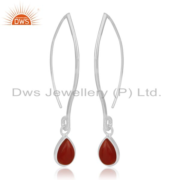 Exporter Custom 925 Sterling Silver Red Onyx Gemstone Jewelry Earrings Manufacturers
