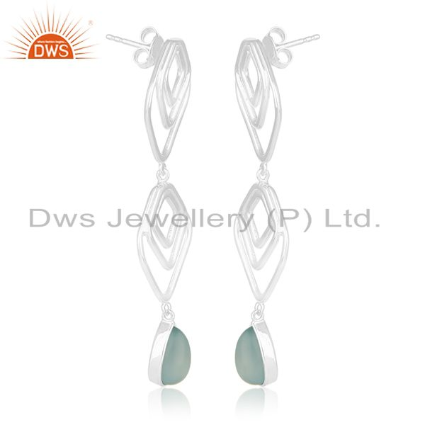 Exporter Hammered Sterling Silver Aqua Chalcedony Gemstone Earring For Girls