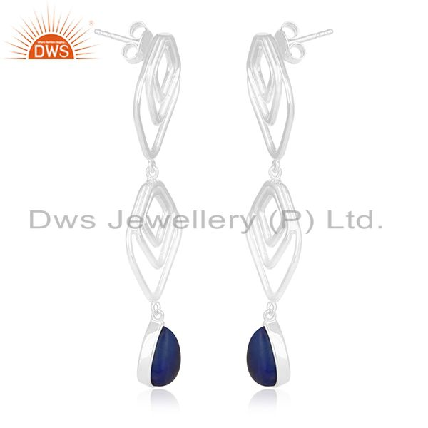 Exporter Lapis Lazuli Gemstone Handmade 925 Silver Earring Jewelry Manufacturer