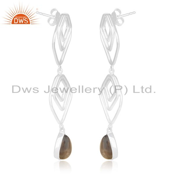 Exporter Manufacturer of Smoky Quartz Gemstone 925 Silver Women Earrings