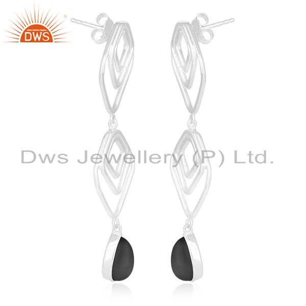 Exporter Jewelry Manufacturer of Onyx Black Gemstone 925 Silver Earrings