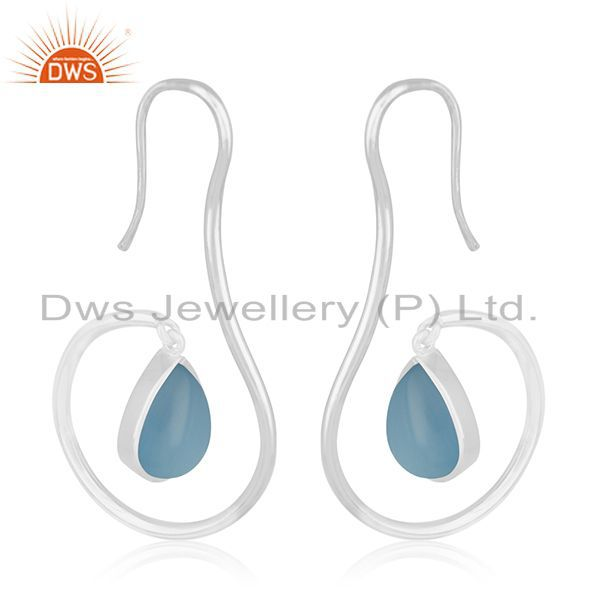 Exporter Blue Chalcedony Gemstone 925 Silver Dangle Earrings Manufacturers