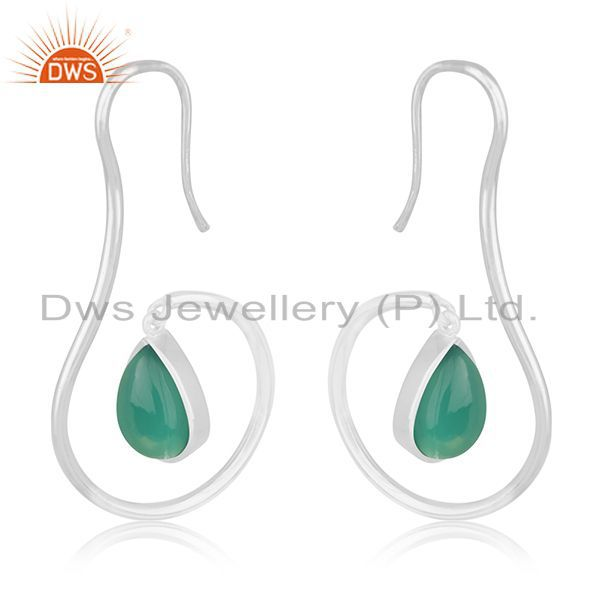 Exporter Handmade Designer 925 Silver Green Onyx Private Label Earring Manufacturers
