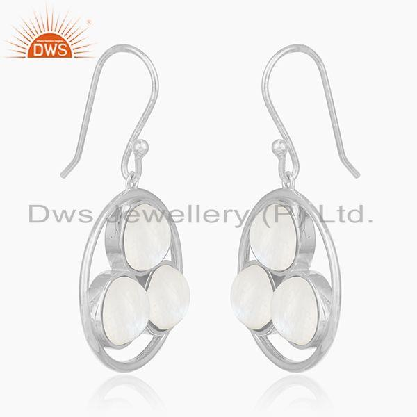 Exporter Rainbow Moonstone 925 Sterling Silver Drop Earrings manufacturer India