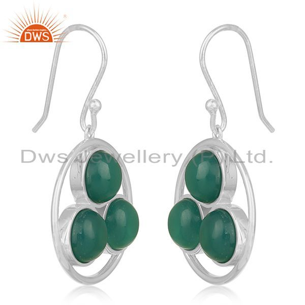 Exporter Handmade 925 Sterling Silver Green Onyx Gemstone Earring Manufacturer of Jewelry