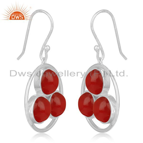 Exporter Red Onyx Gemstone Round Handmade 925 Sterling Silver Earring Manufacturer