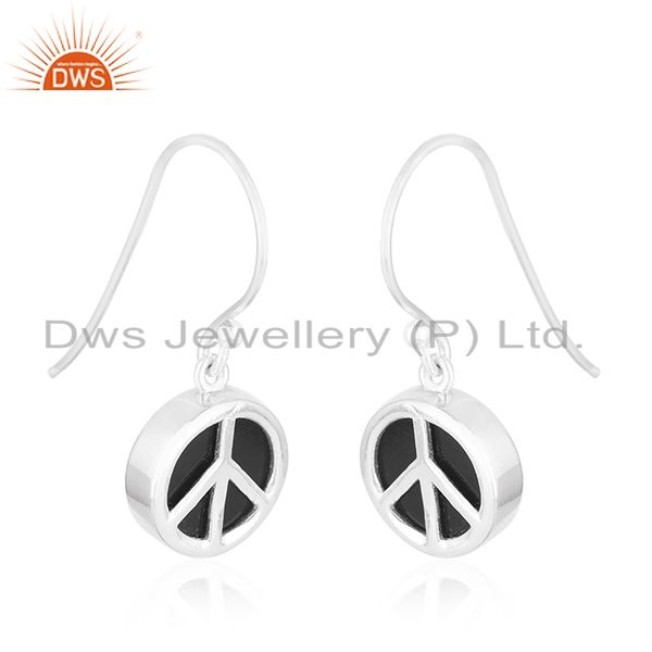 Exporter 92.5 Sterling Fine Silver Onyx Gemstone Peace Sign Earring Manufacturer