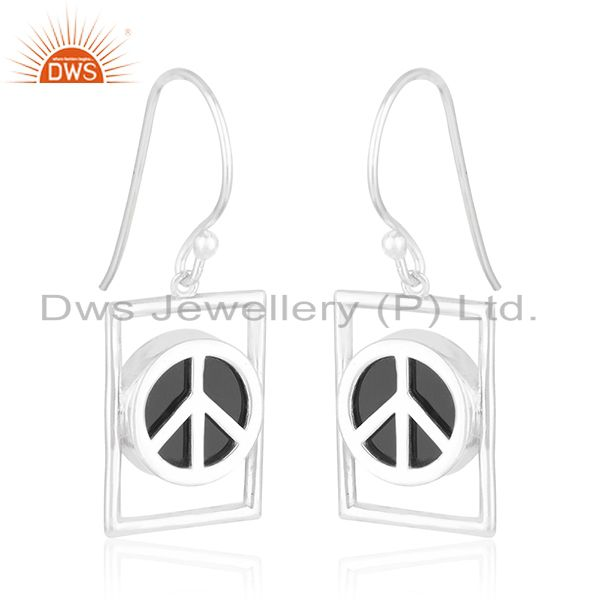 Exporter Onyx Gemstone Fine Sterling 92.5 Silver Peace Sign Girls Earrings Manufacturers