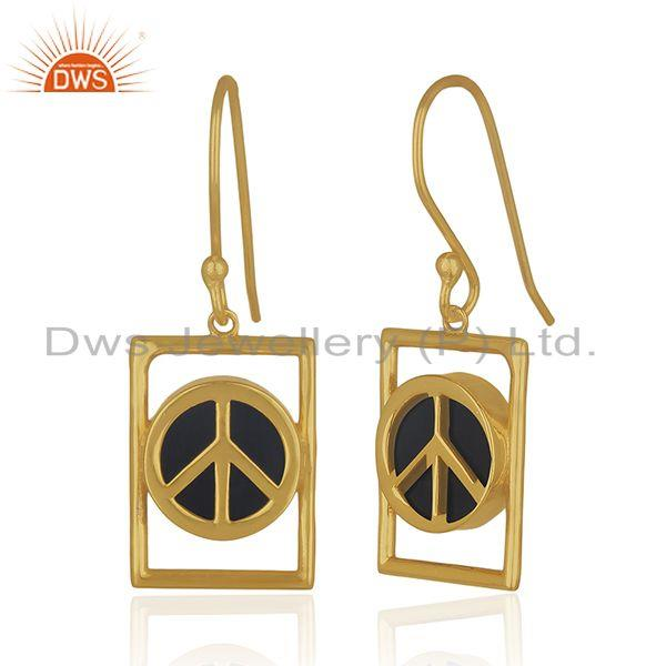 Exporter Peace Sign 14k Gold Plated 925 Silver Black Onyx Gemstone Earrings Wholesale