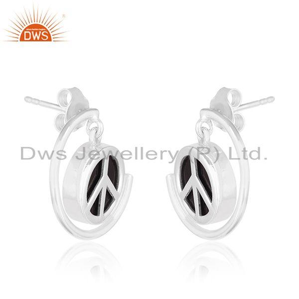 Exporter Peace Sign Sterling Fine Silver Black Onyx Gemstone Earrings Manufacturer India